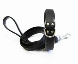 Geoliede Lederen Halsband Zwart