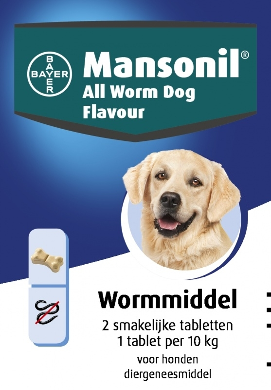 Mansonil All Worm Dog Flavour (2 tablet) voor honden < 20 kg.