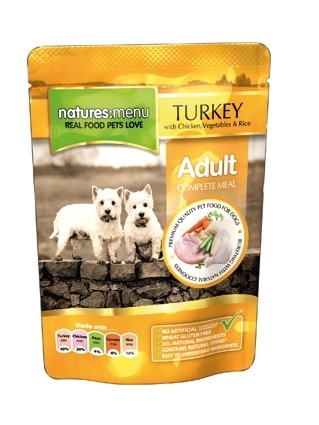 8 x Natures Menu Dog Pouch Adult Kip / Kalkoen 300 gram.
