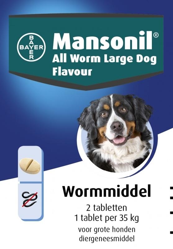 Mansonil All Worm Large Dog Flavour (2 tablet) voor honden >35 kg.