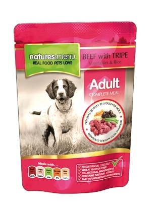 8 x Natures Menu Dog Pouch Adult Rund 300 gram.