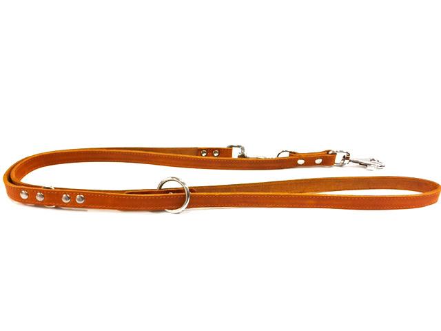 Verstelbare zacht Leren Honden Dressuurlijn Cognac 2 meter