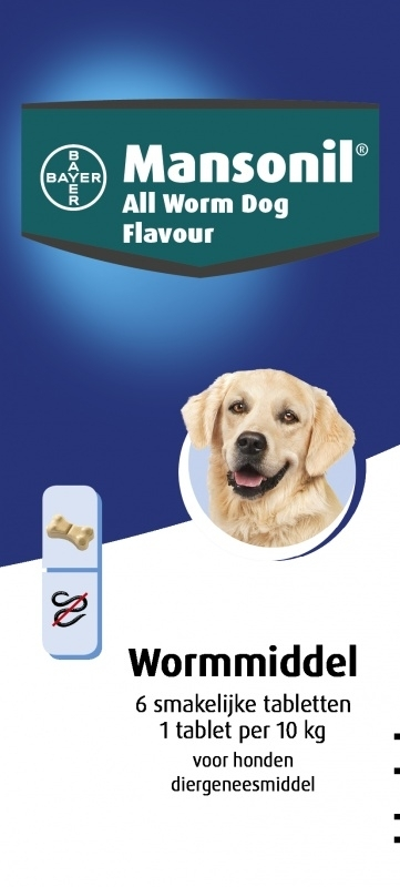 Mansonil All Worm Dog Flavour (6 tablet)