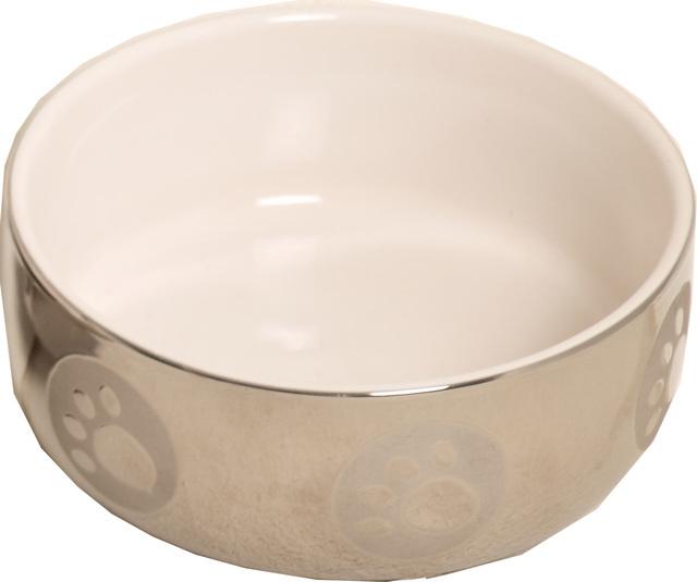 Kattenvoerbak steen wit zilver