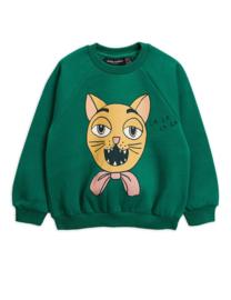 Mini Rodini sweater cat choir green