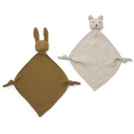 Liewood Yoko Mini knuffel beestje 2 pack - olive/sandy