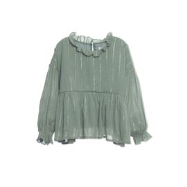 Wander & Wonder blouse ruffle sage lurex