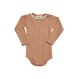 Blossom kids romper rib with lace deep toffee