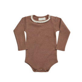 Blossom kids romper rib with lace smoked hazelnut
