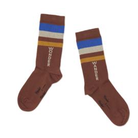 Wander & wonder sokken brown stripe