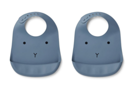 Liewood silicone bib rabbit blue wave