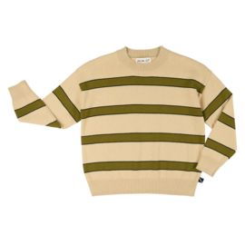 CarlijnQ sweater stripes creme/groen