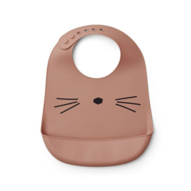 Liewood silicone bib cat dark rose