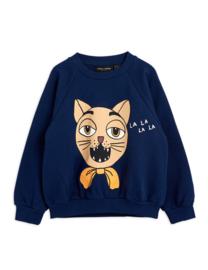 Mini Rodini sweater cat choir navy