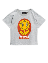 Mini Rodini t-shirt flower grey melange