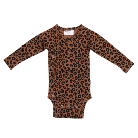 Maed for mini romper chocolat leopard