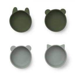 Liewood bowls dieren kommetje silicone hunter green