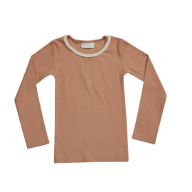Blossom kids longsleeve rib with lace deep toffee