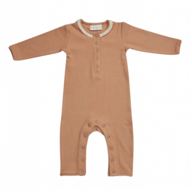 Blossom kids playsuit with lace deep troffee | Mt. 56/62