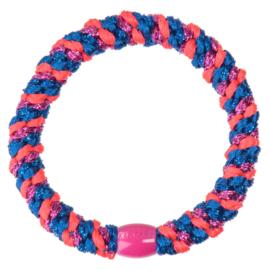 Bon Dep Kknekki haarelastiek mix electric blue pink glitter