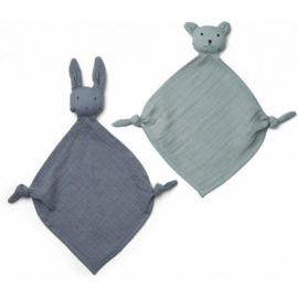 Liewood Yoko Mini knuffel beestje 2 Pack - Blue mix