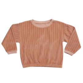 Blossom kids cropped sweater velvet pastel peach