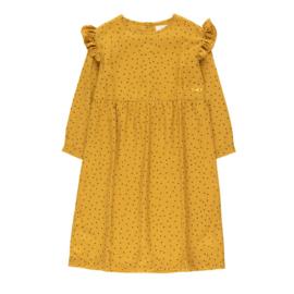 Tiny Cottons jurk tiny dots mustard/navy