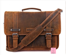 Hillburry laptop tas vintage look