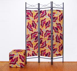 Kamerscherm HOT PINK-ORANGE | 3-delig, vouwbaar | room divider | 180 cm x 120 cm
