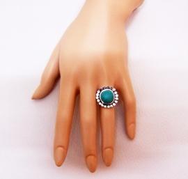 RING TURQUOISE #5 tibetaans zilver met turquoise steen