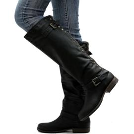 GLAZE zwarte kniehoge laarzen maat 38,5-39 met sexy rode rits