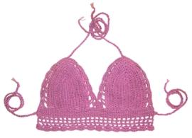GEHAAKT TOPJE LAVENDEL   sexy bikini-topje van katoen   Ibiza gypsy style   mt 34-36
