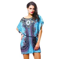 TUNICA BLUE met vleermuis mouwen en ethnic print maat 40/42