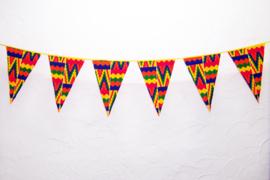 Afrikaanse vlaggenlijn KENTE GHANA | slinger met vlaggetjes van Wax Print stof  | 5 meter