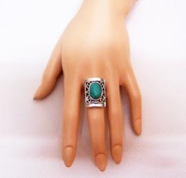 RING TURQUOISE #2 tibetaans zilver met turquoise steen