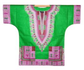 Afrikaans DASHIKI shirt ANGELINA GREEN | african Wax Java Print van VLISCO | unisex