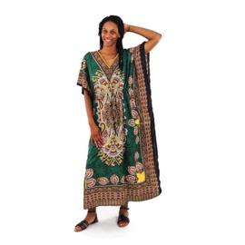 MEDITERRANEAN kaftan green paisley boho gypsy kimono maat M-XXXL