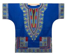Afrikaans DASHIKI shirt ANGELINA BLUE | african Wax Java Print van VLISCO | unisex