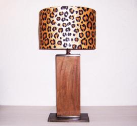LEOPARD lamp met houten/metalen lampenvoet | diameter 35 cm x hoogte 71 cm