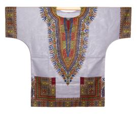 Afrikaans DASHIKI shirt ANGELINA LIGHT GREY | african Wax Java Print van VLISCO | unisex