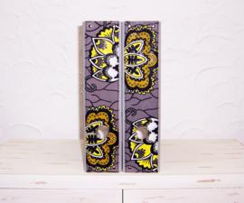 Ordners GRIJS met rug van afrikaanse wax print | 8 cm breed | set van 2