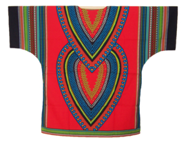 AFRIKAANS DASHIKI SHIRT heart ROOD | unisex zomer party festival blouse