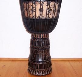 DJEMBE TROMMEL afrikaanse woondeco met houtsnijwerk size L #4