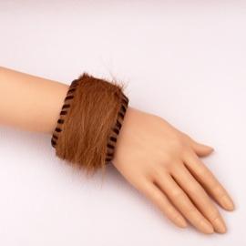 EKENE leren bohemian armband koeienhuid bruin 2-color size M