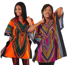 AFRIKAANSE DASHIKI JURK heart PINK | kaftan-jurkje met elastische taille