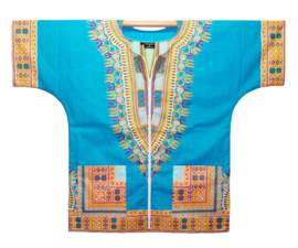 DASHIKI vest met rits ANGELINA TURQUOISE   african Wax Print van VLISCO   unisex   maat L