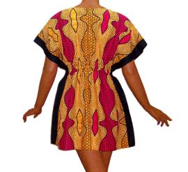 Afrikaanse dashiki jurk LULU | kaftan-jurkje met elastische taille | african Wax Block Print