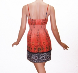 JURKJE ORANJE met spaghettibandjes korte jurk bloemenprint maat 34/36