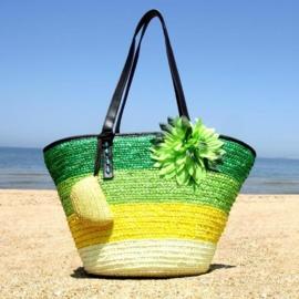 STRANDTAS BLOEM groen | zomerse shopper van stro