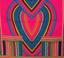 AFRIKAANS DASHIKI SHIRT heart PINK | unisex zomer party festival blouse